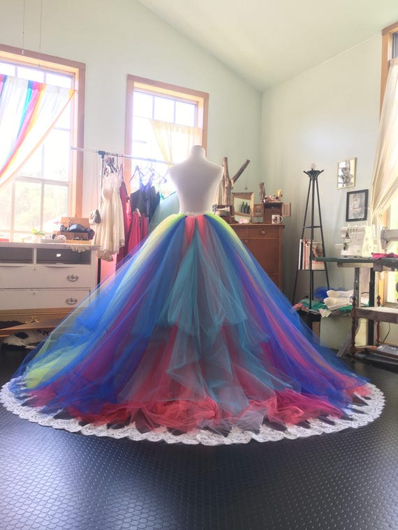 Rainbow wedding dress rainbow gown tutu dress bridal gown like this item junglespirit Gallery