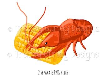 Crawfish clip art, crawfish clipart, corn clipart, crawfish boil, crayfish, crayfish party, nola, digital download, digital scrapbooking