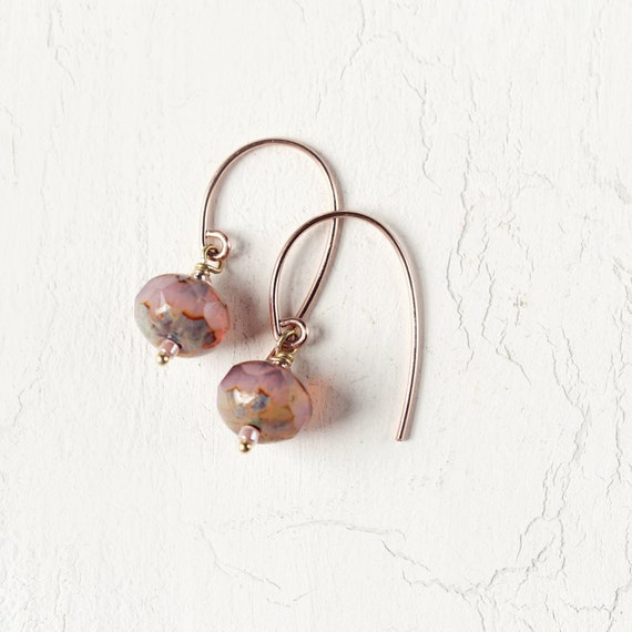 Rose Gold Earrings - Minimalist Earrings For Women - Rose Pink Earrings - Simple Earrings - Drop Earrings