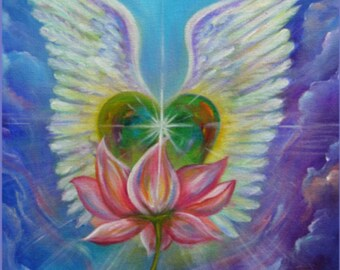 Heart with Wings Lotus Art Print - Dove, Lotus, Meditation, Spiritual gift, Yoga Inspiration, Love