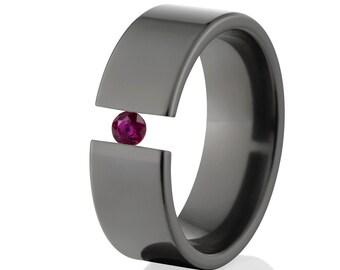 Tension Set Ring, Uniquely You, Black Zirconium, Ruby -  BZ-8F-P-Tension