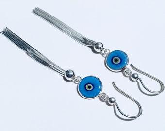 Eye Earring , Sterling Silver Earring, Blue Eye Earring, My Handmade Earring ..