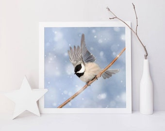 Winter Bird Print, Bird Photography, Winter Art, Woodland Animal Photography, Forest Animal Art Print, Chickadee in Snow No. 5