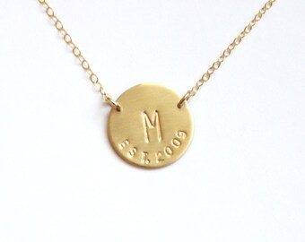 Initial Necklace, Personalized Jewelry, Gift for Wife Gold Necklace, Wedding Gift, Date Necklace, Couples Necklace, New Mom Gift Anniverdary