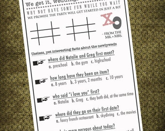 Printable Couple Questionaire & Tic Tac Toe Games. Unique Wedding Program Insert. Creative Touch to Your Traditional Program.