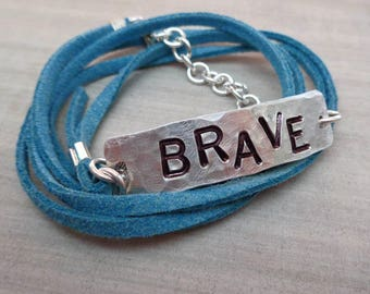 Brave Bracelet Strong Bracelet- Personalized Wrap Bracelet- Empowerment Jewelry-Your Word Bracelet -Empower Women Brave Fierce Warrior-B76