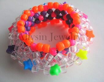3D Star Kandi Cuff, Neon Rainbow Bracelet, Disc Style, Rave Plur Kandi