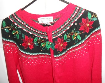 Red Cardigan Sweater Christmas Collection Heirloom Collectibles Poinsettia Vintage Large to Medium See Measurements