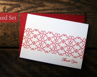SALE - Set of 6 - Letterpress Printed Elegant Scroll Thank You Cards - Red