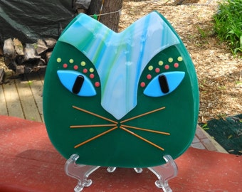 Green Fused Glass Cat Plate, Fused Glass Wall Cat, African Inspired Cat Fused Glass Wall Art, Fused Glass Cat