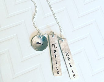 Name Necklace - Mother Necklace - Gift For Her - Mothers Day Gift- Hand Stamped Necklace - Personalized Necklace - Vertical Tag Necklace