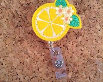 LEMON Badge Reel, Fruit ID Badge Reel, Felt Badge Reel, Retractable ID Name Holder, Nurse Badge Reel, Teacher Gift, 774