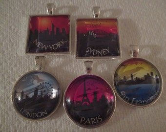 City Skyline Glass Pendant