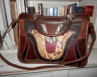GORGEOUS Leather Snakeskin,Lizard Skin,Elegant Purse Chic Handbag Bag Vintage