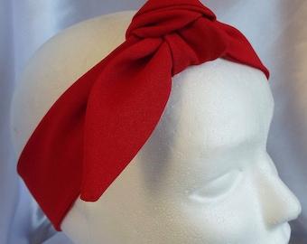 Red adult head band hair wrap scarf bandana headwrap