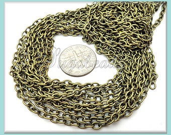 16ft Bulk Chain - Antiqued Brass Cable Chain - 4mm x 3mm Bronze Chain - Unfinished Chain CB1