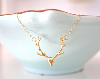 Gold Necklace, Dainty Gold Necklace, Antler Necklace, Hunting Necklace, Deer Necklace, Nature Jewelry, Hunter Necklace, best friend gifts