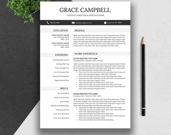 Creative Resume Template, Cover Letter, Word, US Letter, A4, CV Template Design, Professional Modern Teacher Resume, Instant Download, GRACE