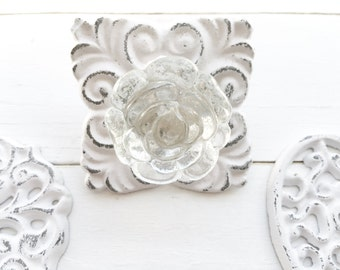 Cast Iron Drawer Pull,Drawer Hardware, Back Plate  Glass Knobs,Kitchen Cabinet Pulls Shabby Chic White Painted Cottage Vintage Hardware