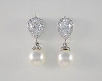 Bridal Cubic Zirconia Crystal Earrings, Swarovski Pearls, Wedding Jewelry, Stud Earrings, Kayla Earrings - Will Ship in 1-3 Business Days