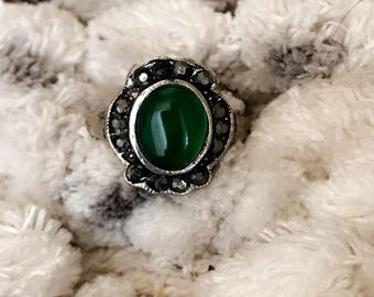 Oval Emerald Gemstone Ring with Accent stones