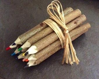Hazel Wood Crayons. Handmade. Rustic.