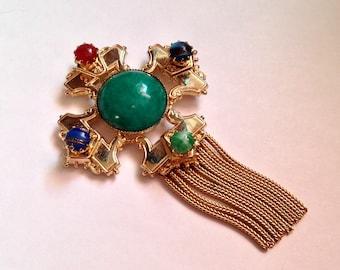 Vintage Green Peking Glass Maltese Cross Dangle Pin Brooch