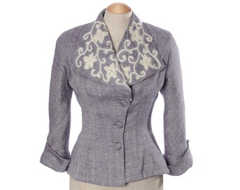 vintage 1950s jacket • nipped waist dramatic embroidered collar
