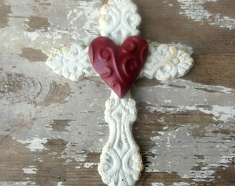 Shabby white cross 6 inch Cast iron cross with red heart wall hanging metal cross Christian Rustic romantic decor small cross N1