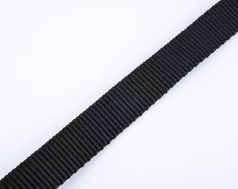 Black 20mm strap by the yard