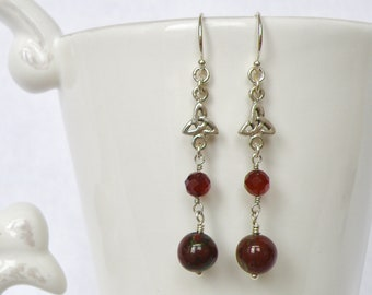 Celtic silver bead, Garnet faceted bead, Dragon's Blood Jasper, dangle earring