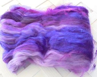 PURPLE HAZE Art Batts, Merino Art Batts, Wool Spinning Batts, Kid Mohair Locks, Bamboo Batts, Batts for Spinning, Batts for Felting, Weave