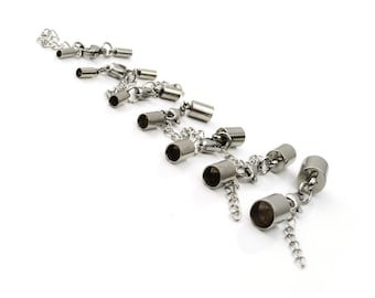 5 Pieces of Stainless Steel Cylindric Clasp With Lobster Extension Chain Internal Size 2.2mm, 2.6mm, 3mm, 4mm, 5mm, 6mm, 8mm