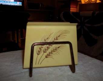 vintage copper and enameled wheat napkin holder from the sixties