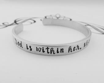 God is within her, she will not fail - Hand Stamped Bracelet - Psalm 46:5 - Inspirational  - Scripture Jewelry - Strong Women - kg13