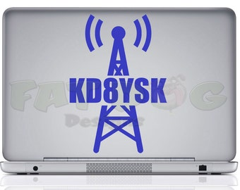 Radio Tower Custom Call Sign Amateur Radio / Ham Radio Removable Vinyl Decal for Car, Laptop, Wall, Tablet, Call Sign Sticker, Dad Gift