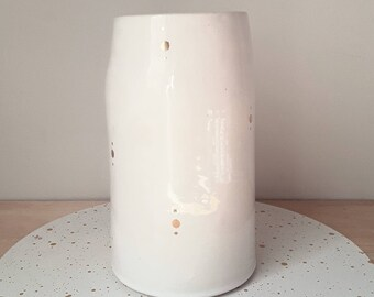 White Gold Dot Vase