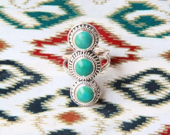 Turquoise Statement Ring, Boho Rings, Boho Jewelry, Statement Ring, Sterling Silver Ring, Silver Rings, Bohemian Jewelry