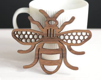 Manchester Bee - personalised wedding favours - real wood coaster - personalised gift - Mancunian - beekeeping - wall art - housewarming
