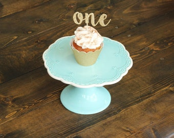 12 Custom Glitter Script Number Cupcake Toppers for Anniversary and Birthday Celebrations.
