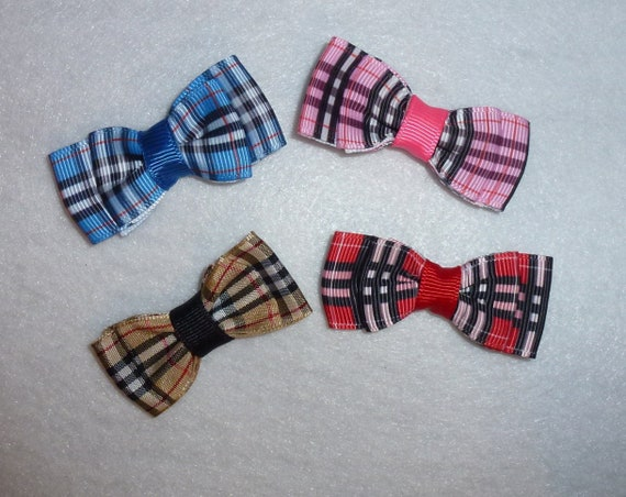 Puppy Bows ~ 2 Pawberry brown/black,  red/black, blue/black or  pink/black plaid pet hair bow latex band ~Usa seller (fb109)