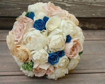 Peony wedding bouquet, sola wood flowers, ivory and blush pink, navy blue wedding, wooden flowers, eco flowers, sola flower bridal bouquet