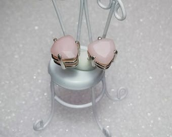 Ballerina Pink Opal Earrings, Natural Peruvian Pink Opals, Trillion 10mm Solid Opals 3.4 Carat Studs