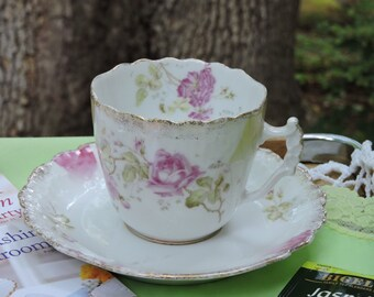 Antique Vintage Germany KPM Mark Tea Cup and Saucer