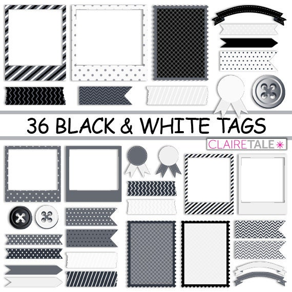 "Digital scrapbooking tags kit: ""36 BLACK & WHITE TAGS"" photo frames, labels, tags, ribbons, buttons in black and white for scrapbooking"
