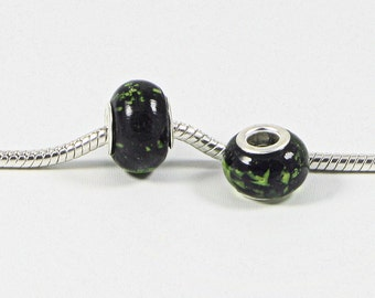 3 Beads - Black With Green Spots Lampwork Glass Silver European Bead Charm E0723