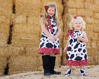 Pillowcase Dress Cow Dress Farm Dress Girls Dresses Farm Party Clothes Cow and Bandana Western Dress Farm Birthday Farm Party Country Dress