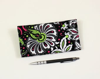 Dramatic Floral Duplicate Checkbook Cover with Pen Holder, Pink and Green Flowers on Black Cotton Fabric