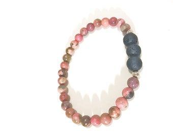 Pink Rhodonite Gemstones and Lava Beads Essential Oil Diffuser Bracelet, Aromatherapy