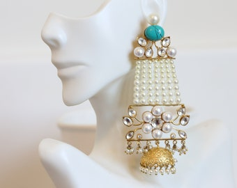 Large Kundan Pasa Earrings, Indian earring, chandabali Jhumka, Punjabi Earrings , Rani Chandelier earring